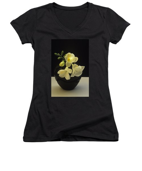 White Freesias In Black Vase Women's V-Neck T-Shirt (Junior Cut) by Susan Rovira