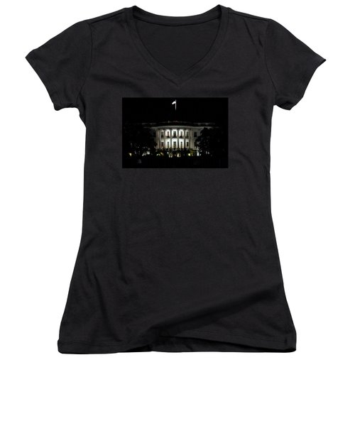 Women's V-Neck T-Shirt (Junior Cut) featuring the photograph White House In December by Suzanne Stout