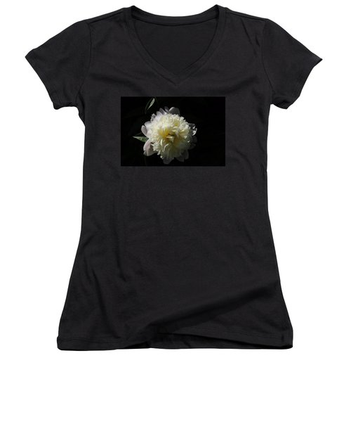 White On Black Peony Women's V-Neck (Athletic Fit)