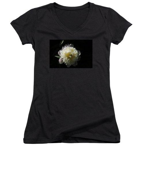 White On Black Peony Women's V-Neck T-Shirt