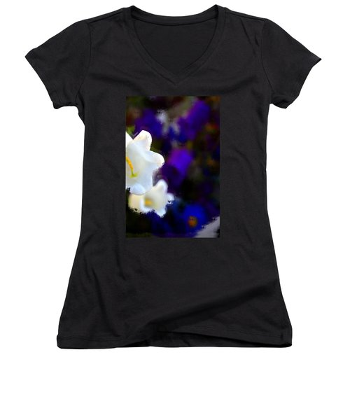 White Purple Women's V-Neck T-Shirt