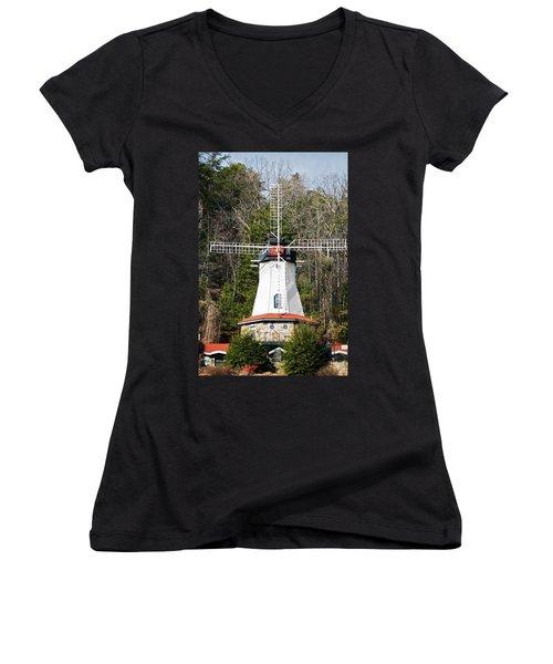 Women's V-Neck T-Shirt (Junior Cut) featuring the photograph White Windmill by Susan Leggett