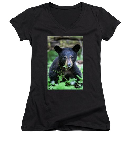 Wildflower Bear Women's V-Neck (Athletic Fit)