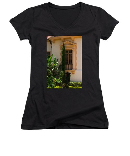 Women's V-Neck T-Shirt (Junior Cut) featuring the photograph Window At The Biltmore by Ed Gleichman