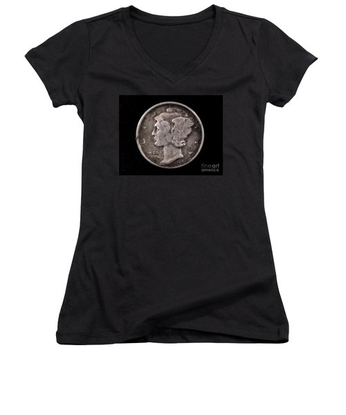 Winged Liberty Mercury Silver Dime Coin Women's V-Neck (Athletic Fit)