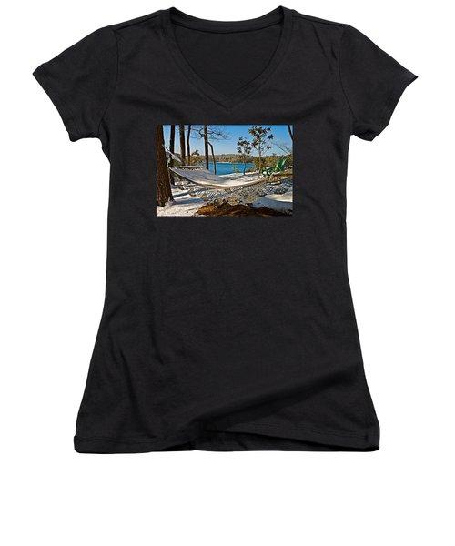 Women's V-Neck T-Shirt (Junior Cut) featuring the photograph Winter Hammock by Susan Leggett