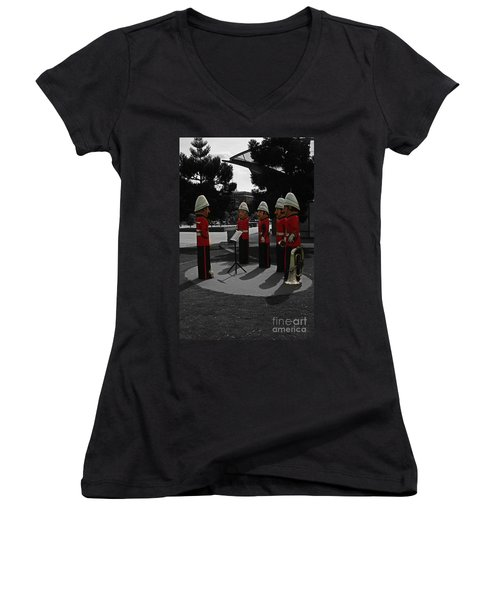 Women's V-Neck T-Shirt (Junior Cut) featuring the photograph Wooden Bandsmen by Blair Stuart