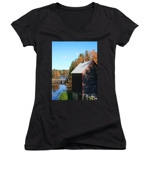 Women's V-Neck T-Shirt (Junior Cut) featuring the photograph Working Gristmill by Barbara McMahon