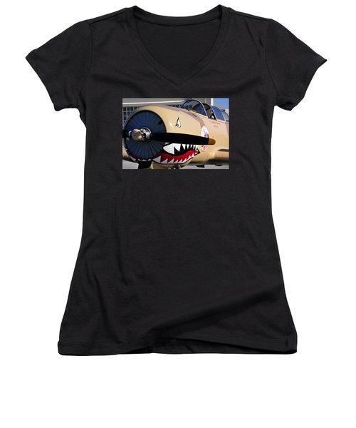 Yak Attack Women's V-Neck T-Shirt (Junior Cut) by David Lee Thompson