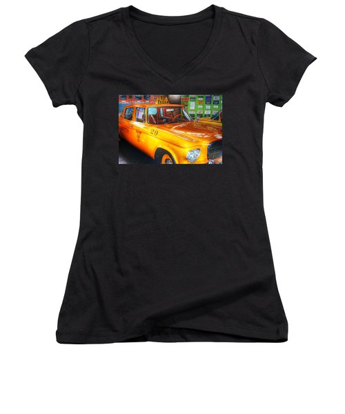 Yellow Cab No.29 Women's V-Neck T-Shirt (Junior Cut) by Dan Stone