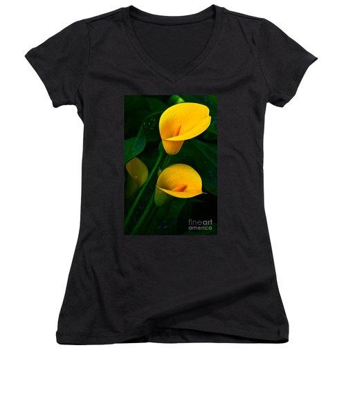 Yellow Calla Lilies Women's V-Neck