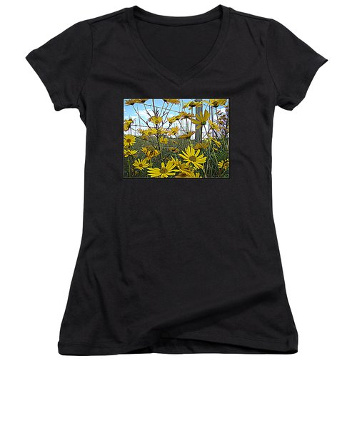 Women's V-Neck T-Shirt (Junior Cut) featuring the photograph Yellow Flowers By The Roadside by Alice Gipson