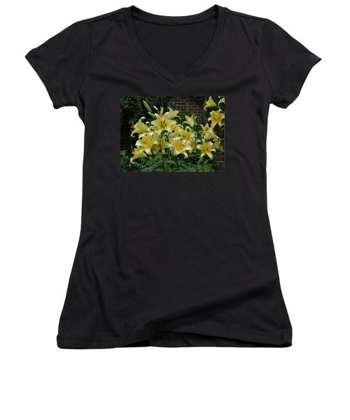 Women's V-Neck T-Shirt (Junior Cut) featuring the photograph Yellow Oriental Stargazer Lilies by Tom Wurl