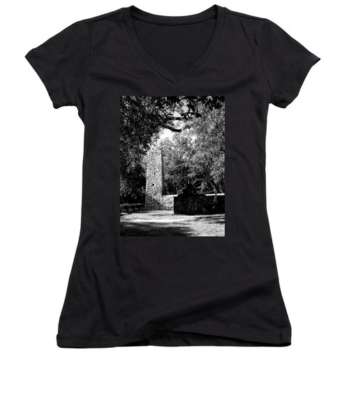 Yulee Sugarmill 2  Black And White Women's V-Neck T-Shirt (Junior Cut) by Judy Wanamaker