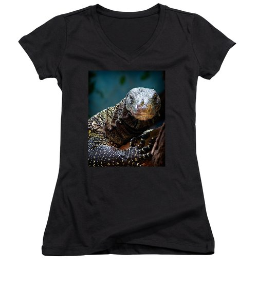 A Crocodile Monitor Portrait Women's V-Neck T-Shirt (Junior Cut) by Lana Trussell