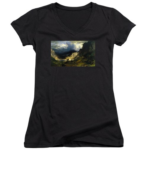 A Storm In The Rocky Mountains Mt. Rosalie Women's V-Neck