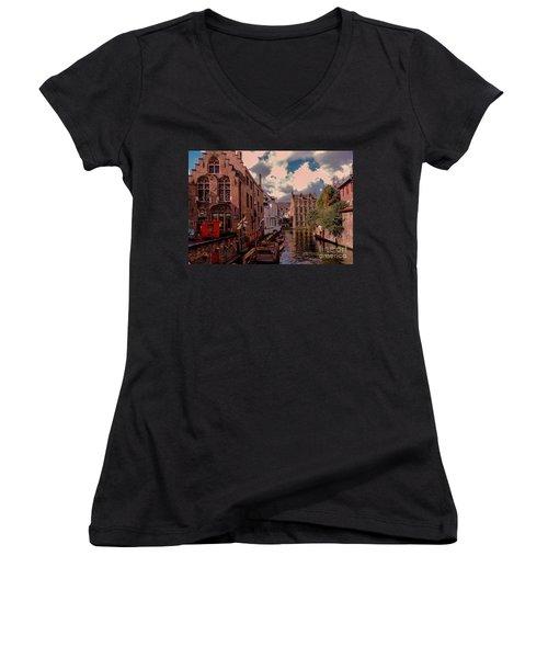 Women's V-Neck T-Shirt (Junior Cut) featuring the photograph  Brugge Belgium by Mim White