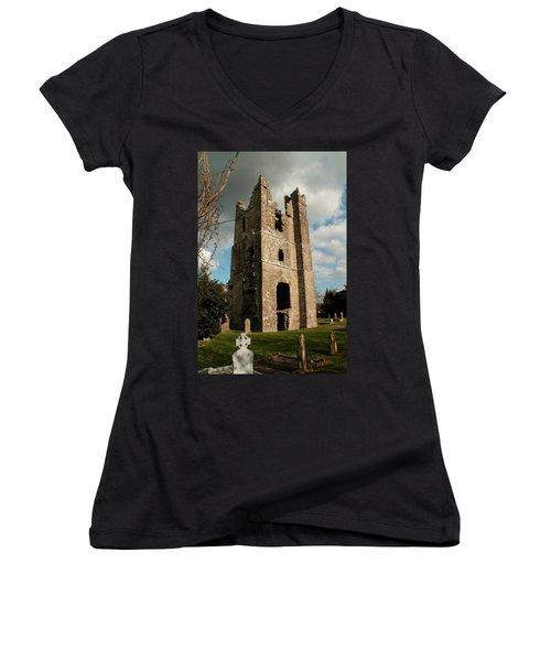 Church In Duleek. Women's V-Neck T-Shirt (Junior Cut) by Martina Fagan
