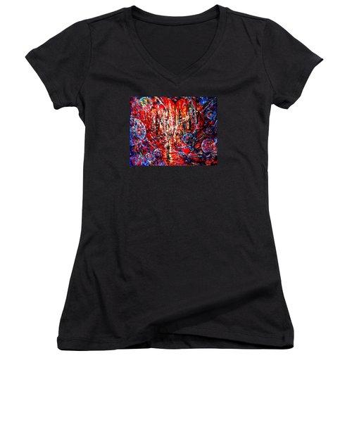 City Of Light Women's V-Neck T-Shirt (Junior Cut) by Helen Kagan