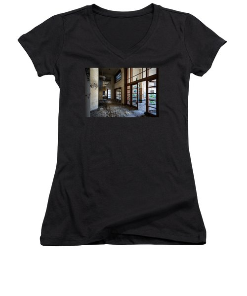 Demolished School Building- Urban Exploration Women's V-Neck T-Shirt