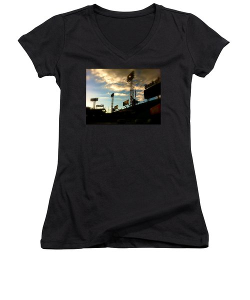Fenway Lights Fenway Park David Pucciarelli  Women's V-Neck T-Shirt (Junior Cut) by Iconic Images Art Gallery David Pucciarelli