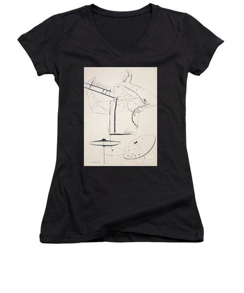 Jazz Image Women's V-Neck T-Shirt (Junior Cut) by Reproduction