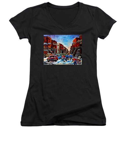 Women's V-Neck T-Shirt (Junior Cut) featuring the painting  Late Afternoon Street Hockey by Carole Spandau