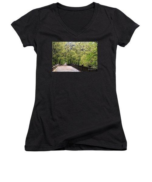 Women's V-Neck T-Shirt (Junior Cut) featuring the photograph  Matthiessen State Park In Spring by Paula Guttilla