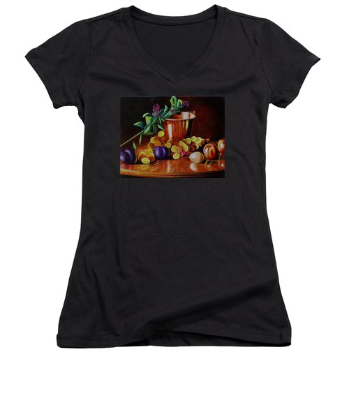 Women's V-Neck T-Shirt (Junior Cut) featuring the painting  Pail Of Plenty by Gene Gregory