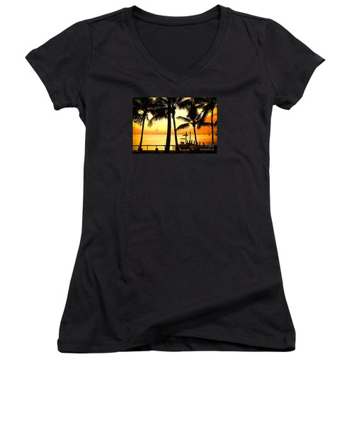 Women's V-Neck T-Shirt (Junior Cut) featuring the painting  Palm Sunset On The Keys by Judy Kay