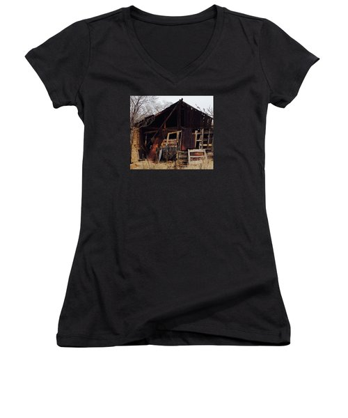 Women's V-Neck T-Shirt (Junior Cut) featuring the photograph Barn by Erika Chamberlin