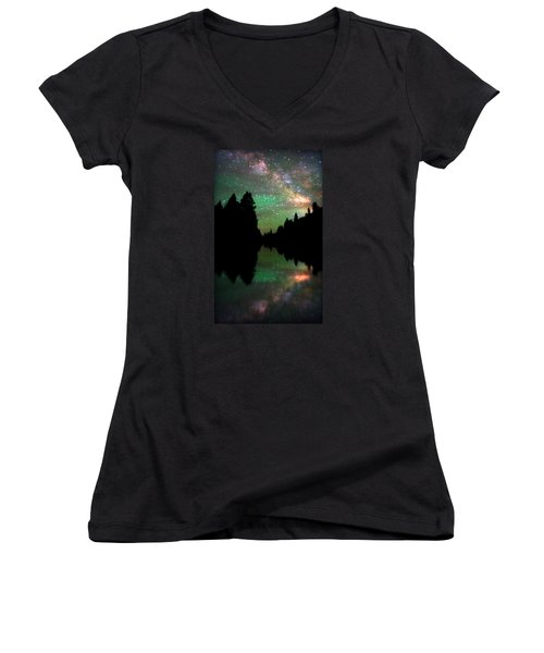 Starry Dreamscape Women's V-Neck (Athletic Fit)