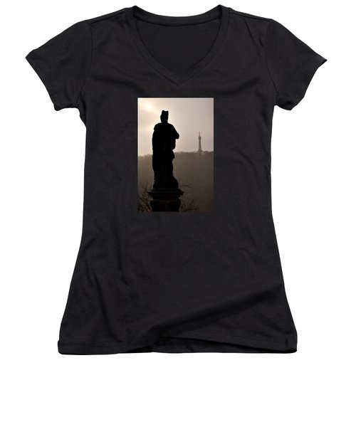 Statue And Petrin Tower Women's V-Neck