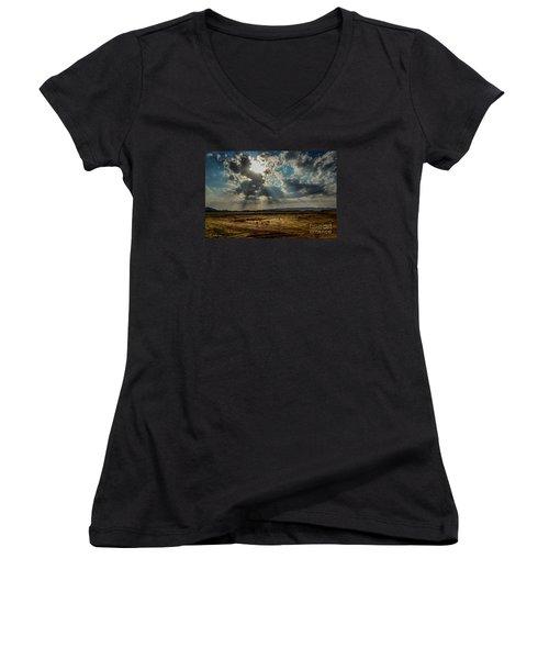 Stormy  Light Rays  Women's V-Neck T-Shirt (Junior Cut) by Arik Baltinester