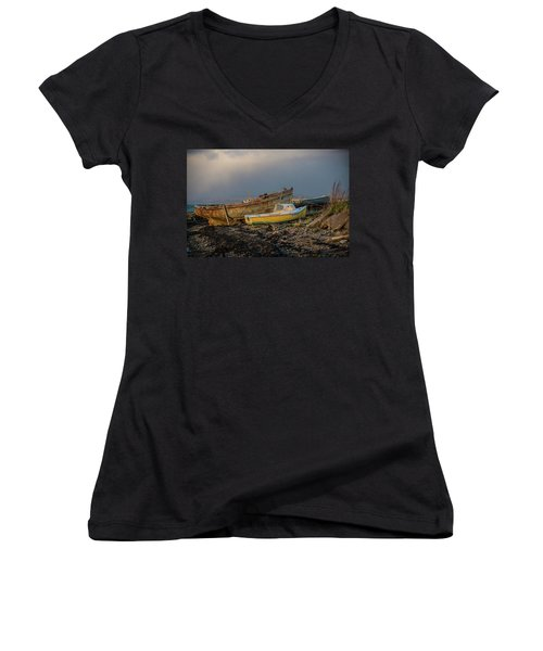 Sunset In The Highlands Women's V-Neck (Athletic Fit)