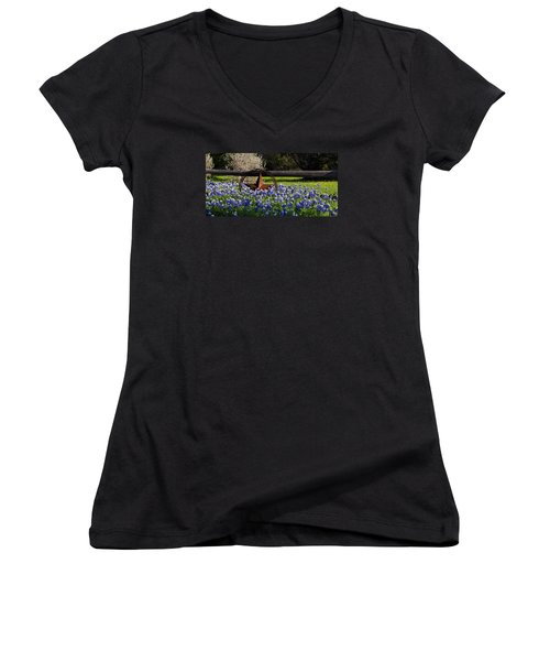 Texas Bluebonnets IIi Women's V-Neck (Athletic Fit)