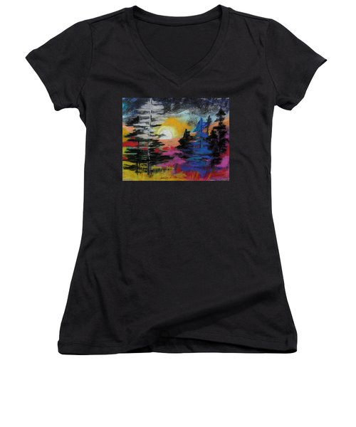 Valley Of The Moon Women's V-Neck T-Shirt