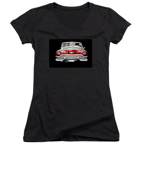 Women's V-Neck T-Shirt (Junior Cut) featuring the digital art  Vintage Red Cadillac by Aaron Berg