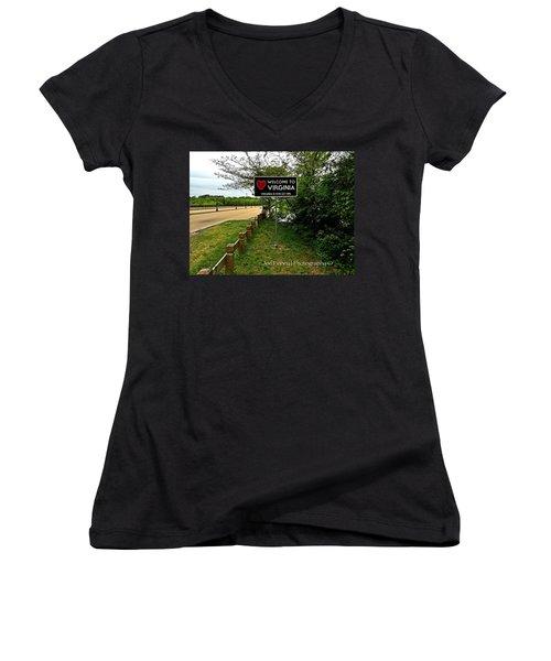 Women's V-Neck T-Shirt (Junior Cut) featuring the digital art  Welcome To Virginia  - No.430 by Joe Finney