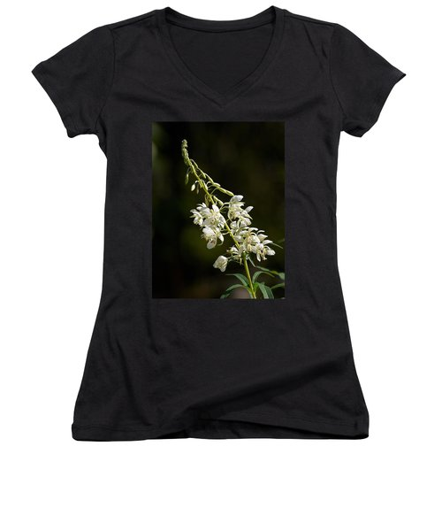 Women's V-Neck T-Shirt (Junior Cut) featuring the photograph  White Fireweed by Jouko Lehto