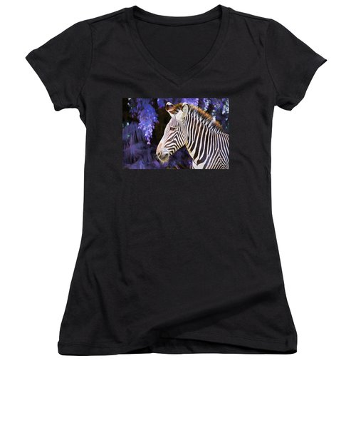 Women's V-Neck T-Shirt (Junior Cut) featuring the painting  Zebra Portrait by Judy Kay