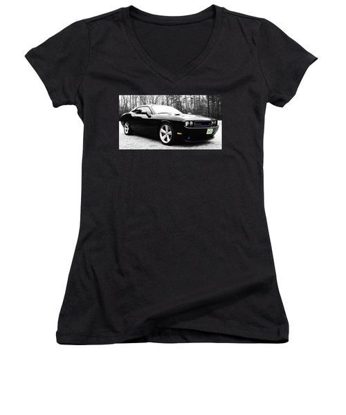 Women's V-Neck T-Shirt (Junior Cut) featuring the photograph 0-60in4 by Robin Dickinson