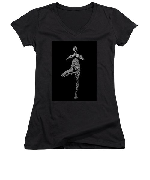 0027-dja Yoga Balance Black White Zebra Stripe Photograph By Chris Maher Women's V-Neck