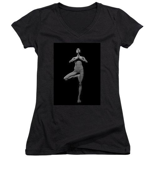 0027-dja Yoga Balance Black White Zebra Stripe Photograph By Chris Maher Women's V-Neck T-Shirt (Junior Cut)