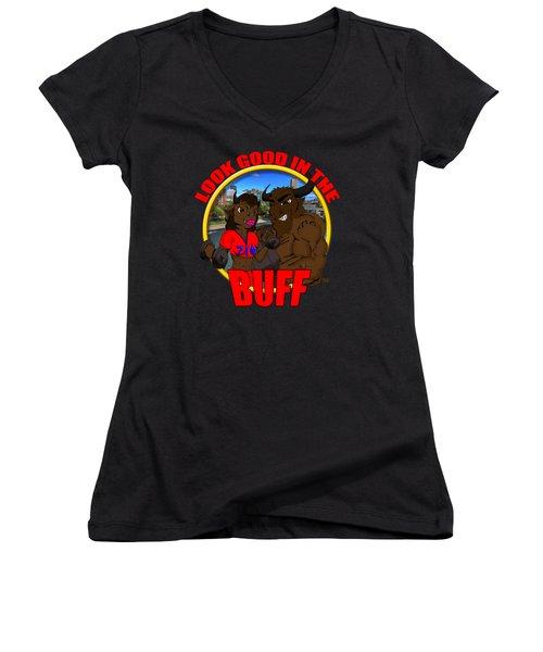 011 Look Good In The Buff Women's V-Neck T-Shirt (Junior Cut) by Michael Frank Jr
