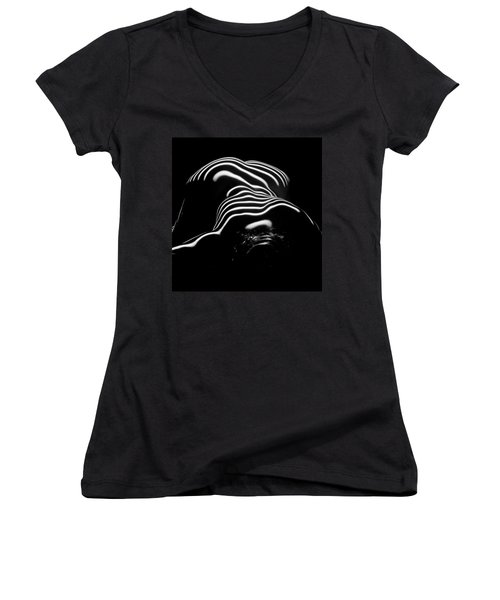 0686-ar Head Down Bottom Up Zebra Striped Female Figure Women's V-Neck (Athletic Fit)
