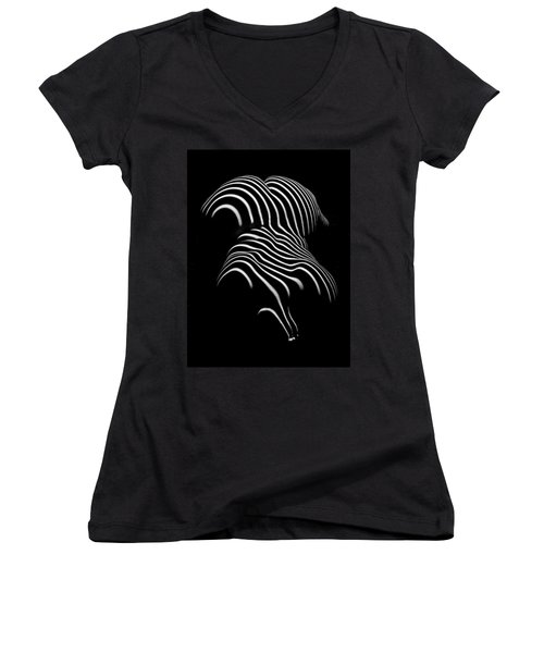 0721-ar Black And White Fine Art Nude Abstract Big Woman Bbw Women's V-Neck T-Shirt (Junior Cut) by Chris Maher