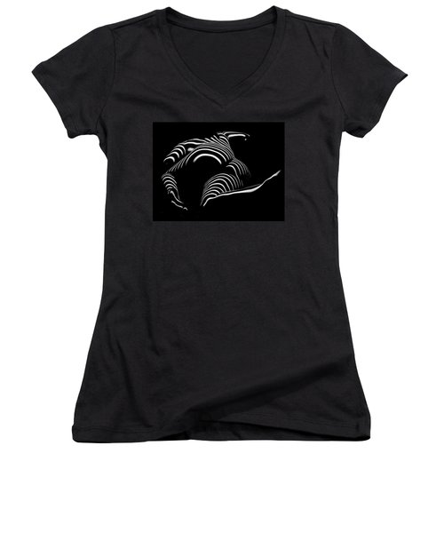 0758-ar Rear View Bbw Zebra Woman Large Full Figured Powerful Female Black And White Abstract Maher Women's V-Neck T-Shirt (Junior Cut) by Chris Maher