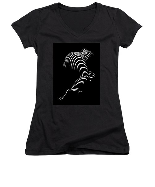 0774-ar Zebra Striped Figure Of A Large Woman Fine Art Photograph By Chris Maher Women's V-Neck