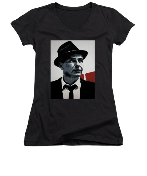 - Sinatra - Women's V-Neck T-Shirt (Junior Cut) by Luis Ludzska